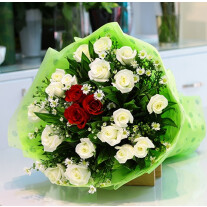 White and Red Roses Bouquet